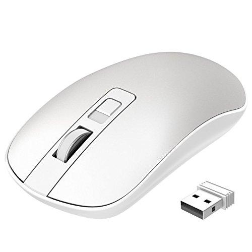 TOPELEK Laptop Maus, PC Maus Optical Business Mouse Schnurlos Computer Wireless 2.4G Intelligente Drahtlose Mäuse Geräuschlose Klicken, Dünn und Tragbar, Geeignet Weiß