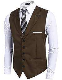 STTLZMC Hombre Blazer Chaleco Sin Manges Doble Pecho Color Sólido Waistcoat Formal Negocio Traje