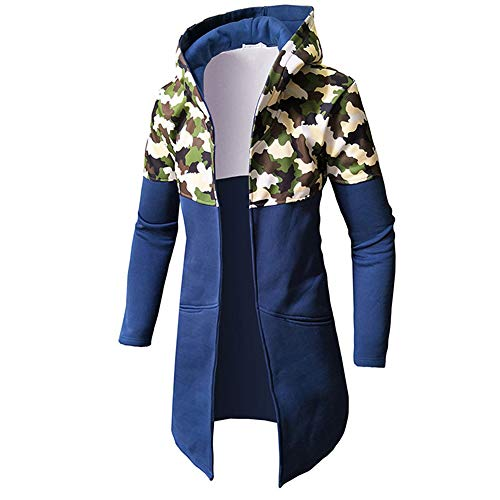 Hoodie Mantel Herren WWricotta Lange Jacke Camouflage Mantel Herbst Winter Casual Warm Langarm Top Bluse Zip Sweater Trenchcoat Lange Strickjacke(Blau,3XL) -