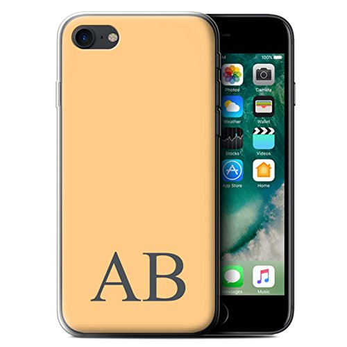 Personalisiert Pastell Monogramm Gel/TPU Hülle für Apple iPhone 7 / Elfenbein Design / Initiale/Name/Text Schutzhülle/Case/Etui Orange