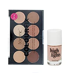 Technic Colour Fix Cream Foundation Contour Palette & Technic Liquid Highlighter Set