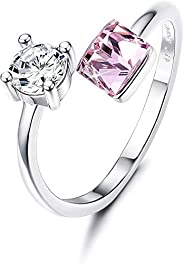 Sllaiss Crystals from Swarovski Adjustable Rings for Women 925 Sterling Silver Anniversary Rings Stackable Wed