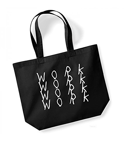 Work, Work, Work, Work - Large Canvas Fun Slogan Tote Bag Black/White