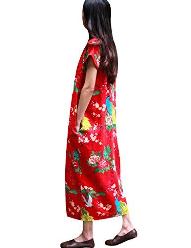 ... Youlee Frauen V-Ausschnitt Peacocks Gedruckt Baumwolle Leinen Kleid Rot  ...
