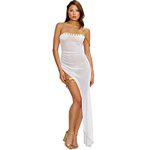 Dreamgirl Kostüm Verführerische Griechin Ayda Einheitsgröße Weiß Gold Kleid Inklusive Schmuck Halskette Schmuck Antike ()