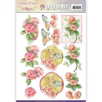 3D-Stanzbogen - Jeaninnes Art - Vintage Flowers - Blumen Schmetterling