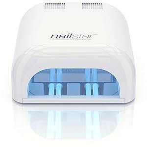 NailStar Lámpara UV Profesional Seca Esmalte de Uñas (36 W) con Temporizador de 120 y 180 Segundos, para Método Shellac y Gel. Incluye 4 x 9W Bombillas