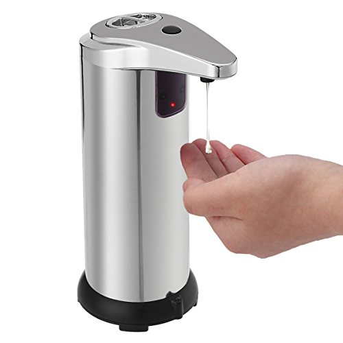 TAPCET Automatic Soap Dispenser Handfree Sensor Touch-less Stainless Steel 280 ML with Waterproof Base for Kitchen and Bathroom Office Sanitizer Shampoo Lotion