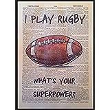 Vintage Citation de rugby d'impression 1933dictionnaire page Décoration murale Tableau Cadeau Sport