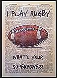 Parksmoonprints Affiche impression page de dictionnaire 1933 avec citation sur le thème du rugby