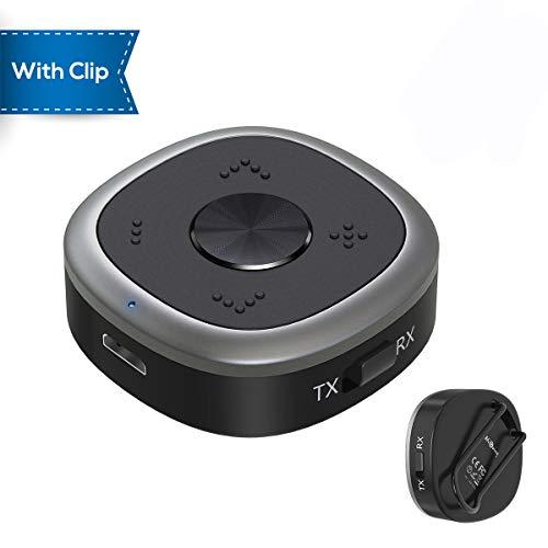 HiGoing Bluetooth Transmitter Sender und Empfänger V4.1 mit Klammer, 2 in 1 Tragbarer kabelloser Audioadapter, aptX HD, Freisprech-Telefonate für Heim-Stereoanlage und Auto-Soundsysteme etc