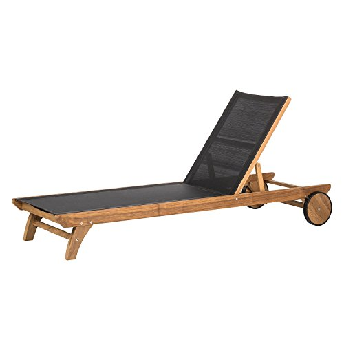 Trendy-Home24 Gartenliege Teakholz mit Textilene hochwertig Teakmöbel Sonnenliege Holzliege mit Rollen und Rücken Verstellung