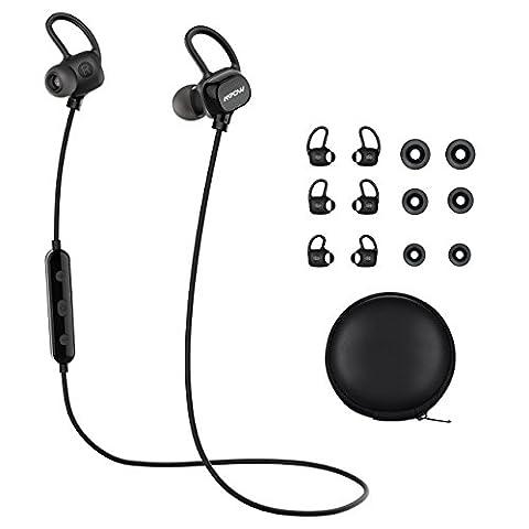 Mpow Ecouteur Bluetooth Basse Profond, Ecouteur Sans Fil Stéréo, Audio Oreillette Intra-Auriculaire Sport,Oreillette bluetooth Anti-bruit, Casque Micro Intégré / CVC 6.0 Anti-Bruit / Bluetooth 4.1 Sigal Stable / Transpiration Résistant / 400 Heures en Veille / LED Indicateur / Micro Intégré/Commande Musical/ Kit Main Libre pour Wiko, Phone 7, SE, 6S ,Huawei, Sony,Ipod.etc. - Noir [18 Mois Garantie]