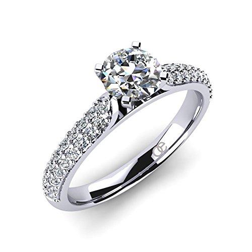 Moncoeur Silber-Verlobungsring Angelonia aus echtem 925er Sterling Silber mit einem Swarovski Hauptstein und 38 Swarovski Kristallen in AAA Qualität im Comfort-Fit...