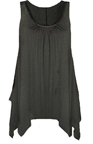 Frauen Tank-Top-Shirt Ausgestellt Swing-Top ärmellos Gr. 50-52/XXXL, schwarz (Top Tank Tunika Shirt)