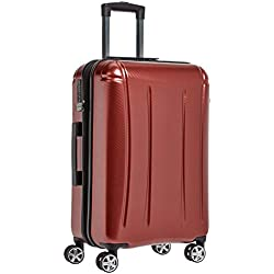 AmazonBasics - Oxford - Valise rigide à roulettes pivotantes - 71 cm, Rouge