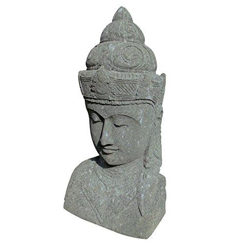 Steinfigur Kopf Shiva 80cm Gartenfigur Statue Skulptur Hinduismus Basanit Bali