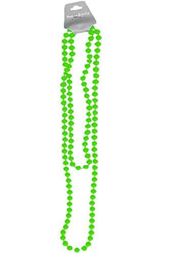 Sofias Closet Farbe Plastik Perlenkette Mardi Gras Neon Helle Rave Gold Silber Perlen Schmuck - Grün, Einheitsgröße