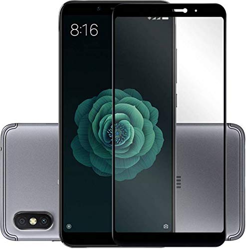 Mi A2 Tempered Glass 5D - Systek Full Screen Protector For Redmi A2 [Full Glue] Edge To Edge, No Rainbow, Shatterproof, Full HD Glass (Black-5D)