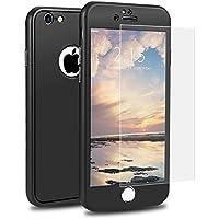 Funda iPhone 6 360 Grados Integra, SKYEE Carcasa iPhone 6 delantera y traseradura Silicona con Cristal Vidrio Templado,TPU Case Cover bumper protección para Apple iPhone 6/6s - Negro