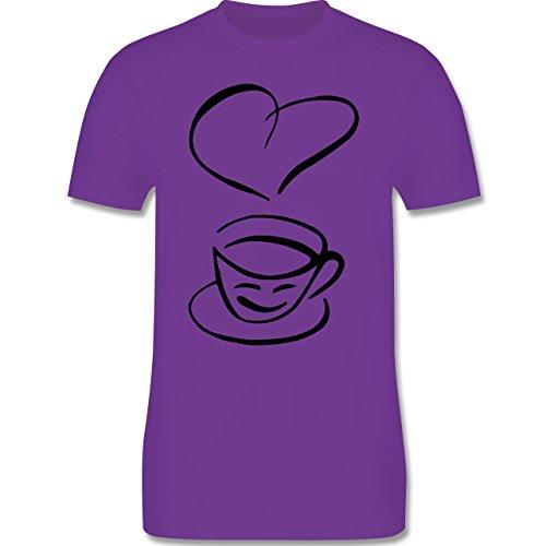 Küche - I Love Coffee - S - Lila - L190 - Herren T-Shirt Rundhals