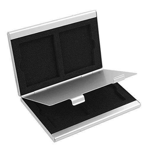 DealMux Aluminiumlegierung 4 CF-Slots Compact Flash Speicherkarte Protecter Aufbewahrungsbehälter-Kasten-Halter-Silber-Ton (Compactflash-speicherkarten 4)