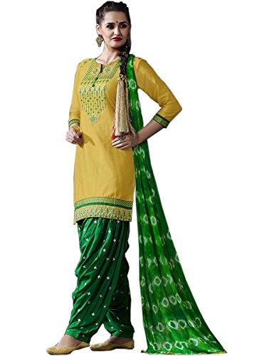Shopper Pick Yellow and Green Punjabi Patiala Embroidered Salwar Suit Dress Material