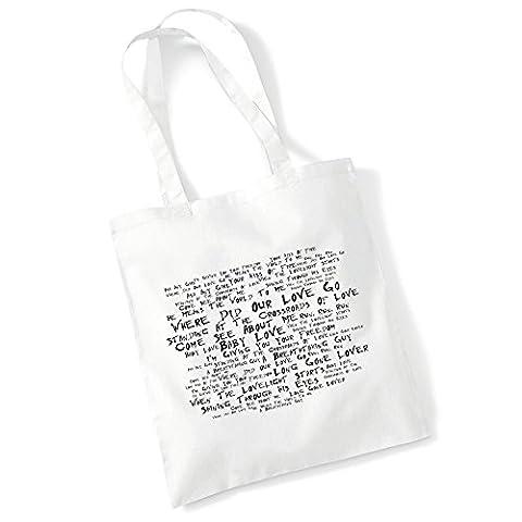 Art Studio Tote Bag - THE SUPREMES - Where Did Our Love Go - Noir Paranoiac - Music Lyrics Album Art Print Poster Beach Gym Festival Shopper (Bob Dylan The Man In Me)