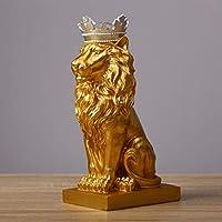YJWKR Sculpture decoration 4 Color Creative Golden Crown Lion Statue Modern Resin Black/White Animal Figurine Home Decoration Desktop Crafts Sculpture,Silver