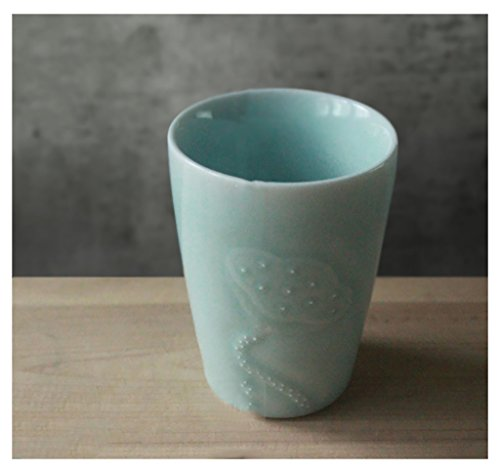 LHshb Lotus a mano Ombra Carving Cup a mano in ceramica due tazza verde smaltato Stagno Floating Water Cup ( colore : 2 )