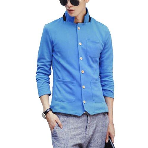 Col Montant Manches Longues Couleur Unie Élégant Veste Blazer Pour Hommes Bleu