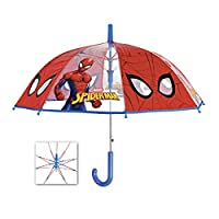 PERLETTI 75367 Umb. Boy 45/8 AUT. Dome Shape Poe Transparent with Printed Spiderman Safety Open, Multi Colour