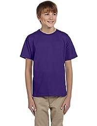 Fruit Of The Loom Youth HD Cotton Short Sleeve Crew T-Shirt, 18/20, Deep Purple