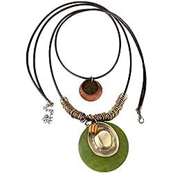 Sharplace Collar Colgante Redondo Multicapa Estilo Étnico Retro para Mujer - Verde, #1