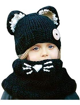 Winter Wolle Gestrickte Hüte Junge Mädchen Schalmütze Baumwolle Winter Strickmütze Kindermütze Kombi-Set Süß Tier...