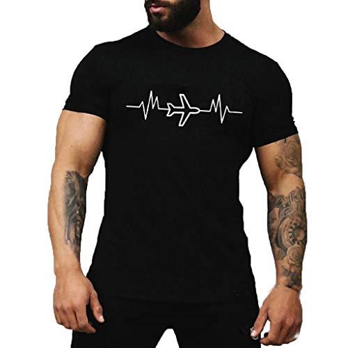 Ujunaor maglietta a maniche corte, uomo,top t-shirt confortevole per uomo, estate, fumetto, stampato, con collo rotondo,s/m/l/xl/2xl/3xl(xxx-large,nero)