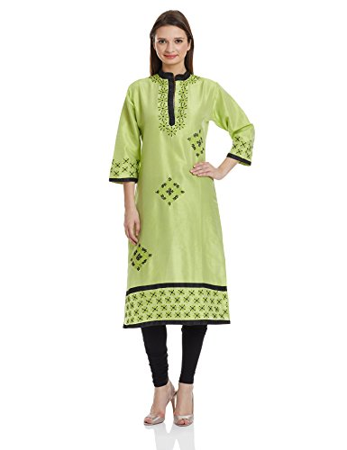 Atayant Women's Straight Kurta (ATAY01455_Green_L )