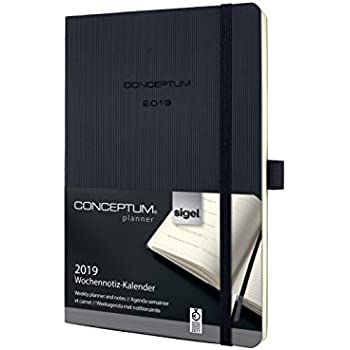 Sigel Wochenkalender Conceptum C1903 2018//2019 Hardcover A5 Kalender schwarz