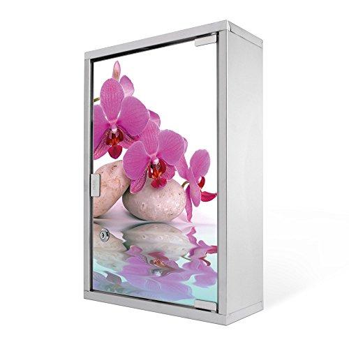 #Medizinschrank groß Edelstahl abschliessbar 30x45x12cm Arzneischrank Medikamentenschrank Hausapotheke Erste Hilfe Schrank Motiv Orchidee#