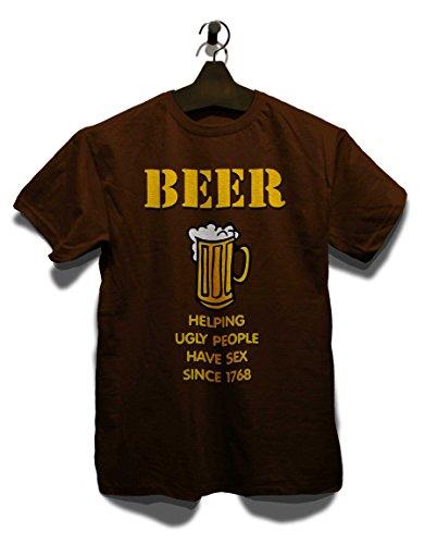 Beer Helping Ugly People T-Shirt Braun