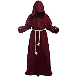 BLESSUME Disfraces de Monje Sacerdote Túnica Fraile Medieval Capucha Encapuchado Monje Renacimiento Túnica Disfraz (L, Borgoña)