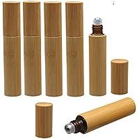 Botellas enrollables de 10 ml, botellas de bambú para aceites esenciales, 6 unidades de botellas de vidrio recargables para perfume, botellas de muestra con bolas de acero inoxidable, abridor y cuentagotas.