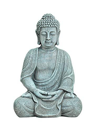 WOMA - Statuetta di Buddha Seduto in Magnesia Resistente alle intemperie, Decorazione per casa, casa e Giardino, Altezza 30 cm, Scultura per Interni ed Esterni, Grigio