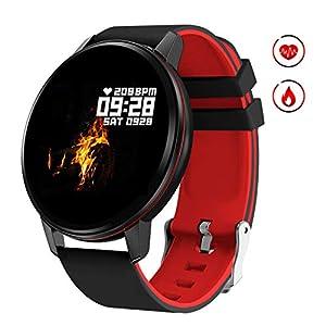 Smartwatch Deporte para Mujer Hombre con Pantalla Completa Táctil Monitores de Actividad Impermeable Outdoor Fitness Tracker con Monitor de Sueño Pulsómetros Cuenta de Pasos Compatible con iOS Android 5