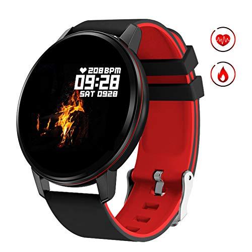 GOKOO Smartwatch Fitness Tracker Armband Damen Herren Full-Touchscreen IP67 Wasserdicht Aktivitätstracker mit Pulsmesser Schrittzähler Kalorienzähler für IOS Android(Schwarz Rot)