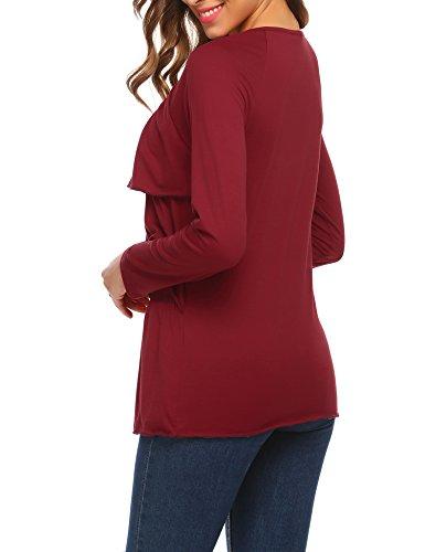 Beyove Damen langarmshirt Volants Bluse Tops Shirts geschichtete Loose Sweatshirt Oberteil Tops Weinrot