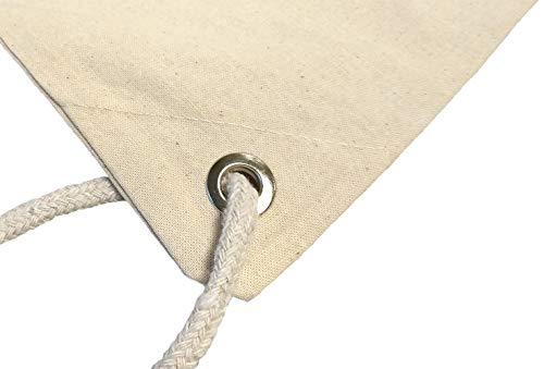 Cottonbagjoe Kleiner Baumwollrucksack Stoffbeutel Turnbeutel Sportbeutel für Kinder Kindergarten Schulkinder Sportunterricht zum Bemalen mit Kordelzug Natur 33x38cm 10 Stück