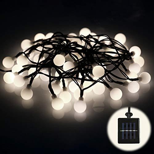 (FITFIRST 50er Solar LED Warmweiß Lichterkette,Wasserdicht Außen/Innen Kugel Solarleuchte,7m mit Wandmontage,Dekoration für Weihnachten,Halloween,Geburtstagsfeiern,Thanksgiving Party,Garten)