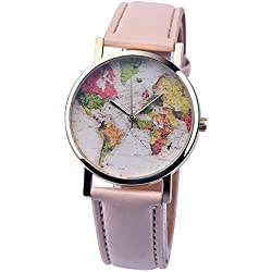 PSFY 2016 new styles leather watches with Cream world map watch Unisex watches wristwatch