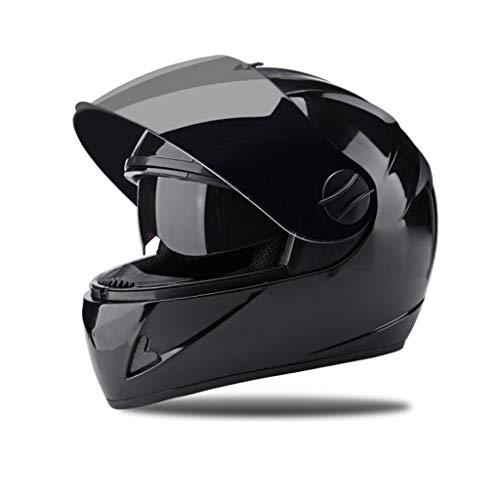 BHJqsy Schutzhelm Elektrische Batterie Motorradhelm vier Jahreszeiten Universal Vollvisierhelm Winter warm Full Cover Helm Effizienter Schutz des Kopfes (Farbe : SCHWARZ, größe : 32x26x26cm) -